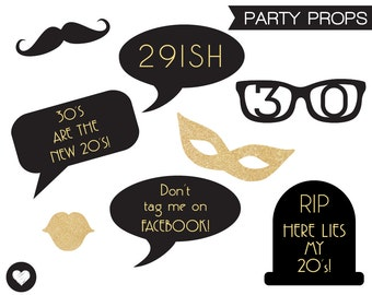 Black and Gold 30th Birthday Party Props. Photo booth Props. Photobooth Quotes. Instant Download. Printable Designs