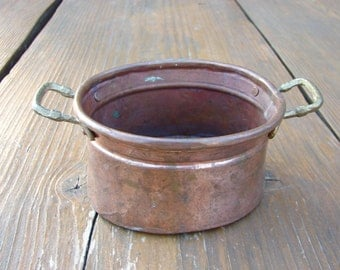 Vintage Handmade Oxidized Copper Pot or Planter with brass Handles  / Pot bowl with Handle / Rustic Home Decor Copper Scoop /