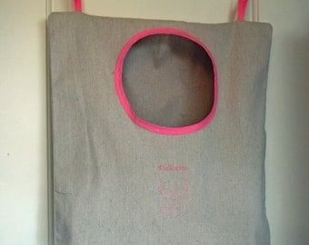 Canvas Hanging Hamper – Laundry Bag – Delicates Pink Embroidery