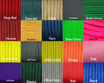50 foot hank of 550 paracord your choice of color  Commercial type III 7 strand paracord **USA Cord**
