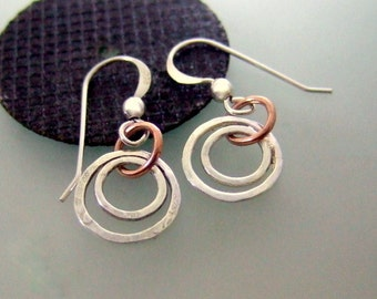 Silver hoop earrings, textured double hoops and copper hoop drop, with a hook & bead, handmade in the UK using Silversmith techniques only