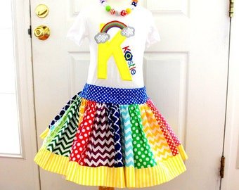Rainbow birthday outfit - toddler girl birthday skirt set - baby birthday shirt with matching rainbow skirt - personalized shirt with number
