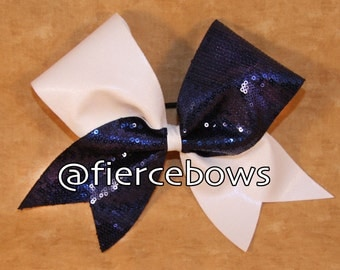 Navy Sequin and White Mystic Cheer Bow