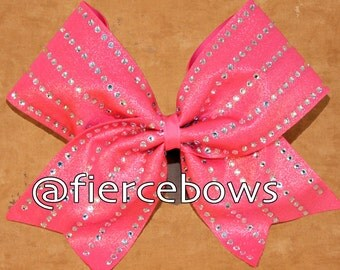 Rhinestone Lines in Coral Cheer Bow