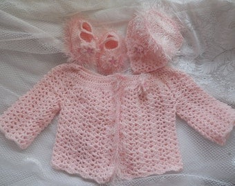 Crochet Baby Girl's Sweater Baby Sweater Crocheted Baby Sweater Furry Baby Sweater Set