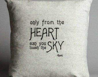 Rumi Heart Quote Pillow in Hemp and Organic Cotton