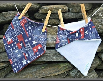 White Stars on Blue and Red Bandanna Baby Bib