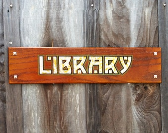 Craftsman style oak Library Sign gilded letters