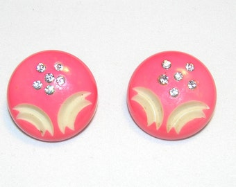 1940's Bright & Sassy Hot Pink Celluloid Clip Earrings