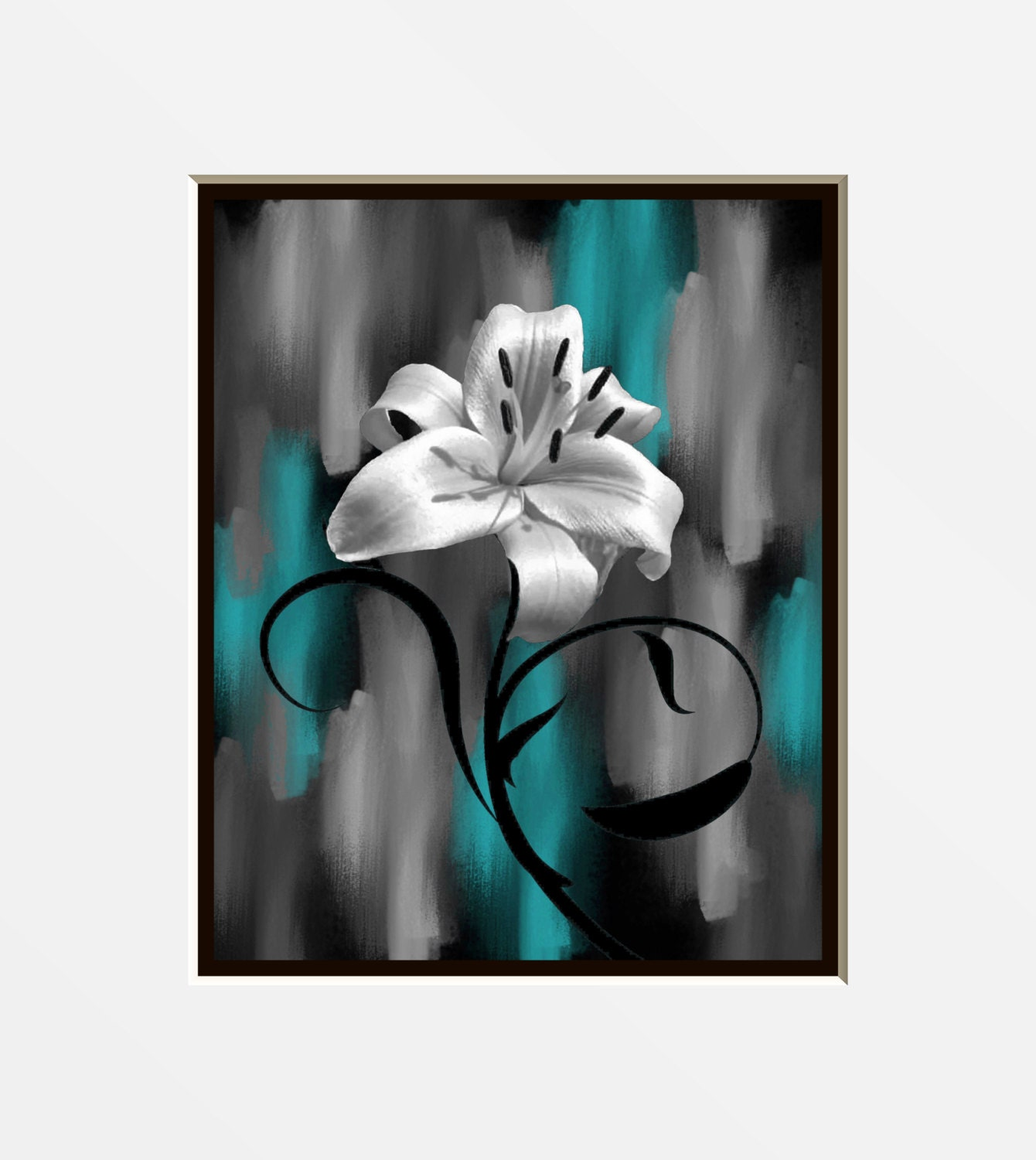 Teal Gray Lily Flower Decor Teal Picture Modern Teal Gray