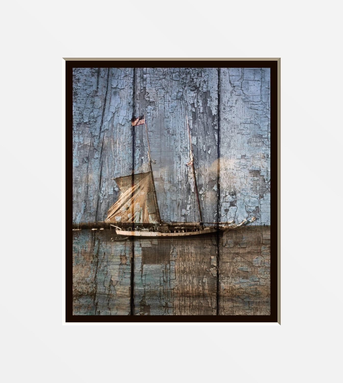 Coastal Sailboat Wall Art Rustic Brown Blue By