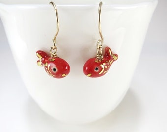 Red Fish Earrings Animal Jewelry Fish Gift Tiny Goldfish Fish Jewelry Gift Ceramic Earrings Tiny Fish Red Gold Tiny Clay Animal Red Gift