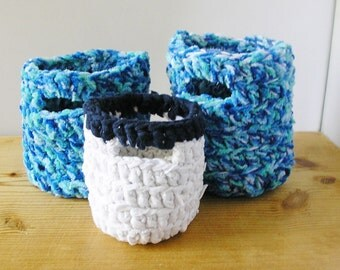 3 blue & white Crochet baskets containers crocheted set of 3 bathroom bedroom study playroom make up toy jewellery holder handmade Ireland