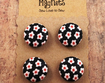 Fabric Covered Button Magnets / Flowers Magnets / Polka Dot Magnets / Strong Magnets / Refrigerator Magnets / Fridge Magnets