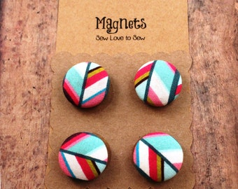 Fabric Covered Button Magnets / Diagonal Lines Magnets / Strong Magnets / Refrigerator Magnets / Fridge Magnets