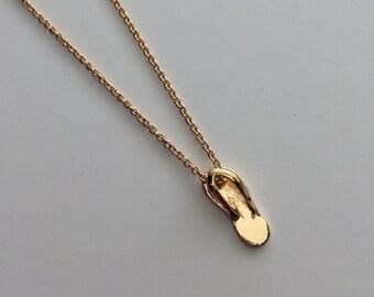 Summer Flip Flop-- Gold Flip Flop Necklace-- Flip Flops