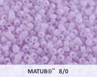 10 g Soft Lilac Opal Matted Czech MATUBO Seed Beads 8/0 (9667)