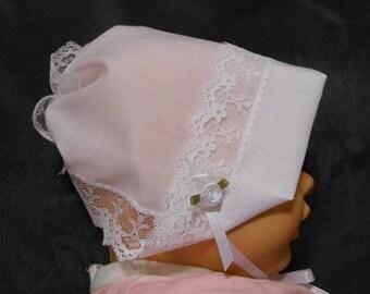 Baby Hankie Bonnet / Wedding Handkerchief with Queen Anne Lace