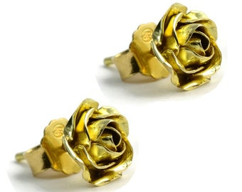 Rose Gold Earrings – Flower Stud Earrings – Mothers Day Gift – Wedding Jewellery – Gift for Her