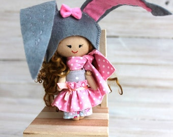 Cloth Doll, rag doll, child friendly, Doll - burro, little doll, textile doll, doll with brown hair, gift for Christmas