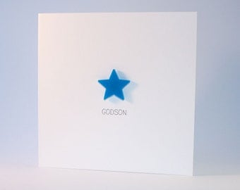 Godson Card with Blue detachable magnet keepsake