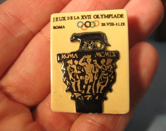 Vintage Summer Olympic Sport Posters in Hand Painted Porcelain Rome - French Feve Feves  Miniatures Mini Olympics Poster BB18