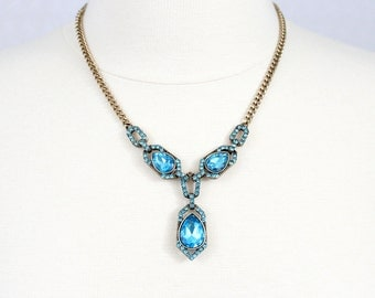 Blue Crystal Tear Drop Necklace
