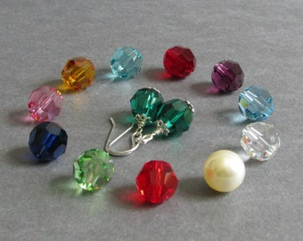 """Crystal Birthstone Earrings, Sterling Silver, Red, Orange, Yellow, Green, Blue, Purple, Pink, Clear, January to December, """"Classic No. 42"""""""