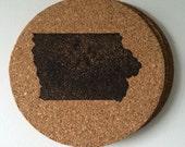 Set of 4 hand-stamped Iowa coasters