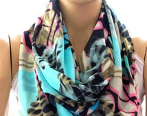 turquoise brown scarf, infinity scarf, circle scarf, women accessory, fashion accessory, trendy items, scarves, loop scarf, batik scarves
