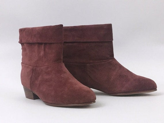 RESERVED for Ruthie - Suede Ankle Boots - Size 7 M Raspberry Pink Booties - Vintage 1980s Womens Kitten Heel Spring Boots
