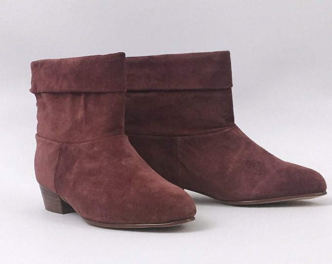 Suede Ankle Boots - Size 7 M Raspberry Pink Booties - Vintage 1980s Womens Kitten Heel Spring Boots