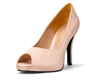 Blush Pink Wedding Shoes Satin Nude Shoes, Nude Blush Bridal Shoes, Light Pink Wedding Heels