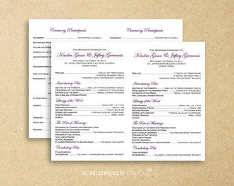 Flat Catholic Program Template | Wedding | Instant Download Digital File