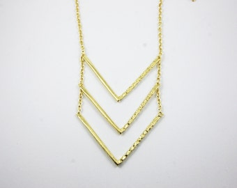 GOLD Plated Simple Three Layer Stacked Chevron Necklace Minimalist Dainty Delicate Triangle Arrow
