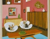 Mid Century Modern Eames Retro Limited Edition Print from Original Painting Interior Eichler