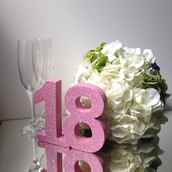 Th Birthday Glitter Table Number Party Decoration Birthday - Table decoration ideas for 18th birthday