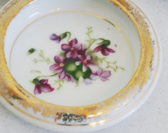 Vintage porcelain coaster set-4 gold trimmed coasters- assorted floral motifs-violets-roses