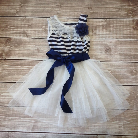 Navy White Toddler Girl Dress Nautical By BabyLiloHairBoutique