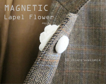 Magnet Lapel Flower - Wedding Boutonniere - Buttonhole - Magnetic Lapel Pin - Tuxedo Corsage