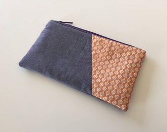Zipper pouch, clutch, cosmetic bag, pencil case - floral orange and purple