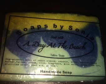 A Day At The Beach Handmade Soap, Tallow Soap, beach scent