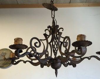 Sold cannot be purchased ---- Art Nouveau Hand Made Wrought Iron 5 light Chandelier