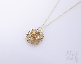 "Sterling Silver and 14kt Gold Filled Flower Pendant - Silver and Gold Flower Necklace - Gold Filled Chainmaille Pendant - 18"" Gold Necklace"