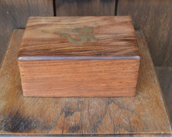 Wooden Box with Secret Opening Latch and Brass Embed - Ohm