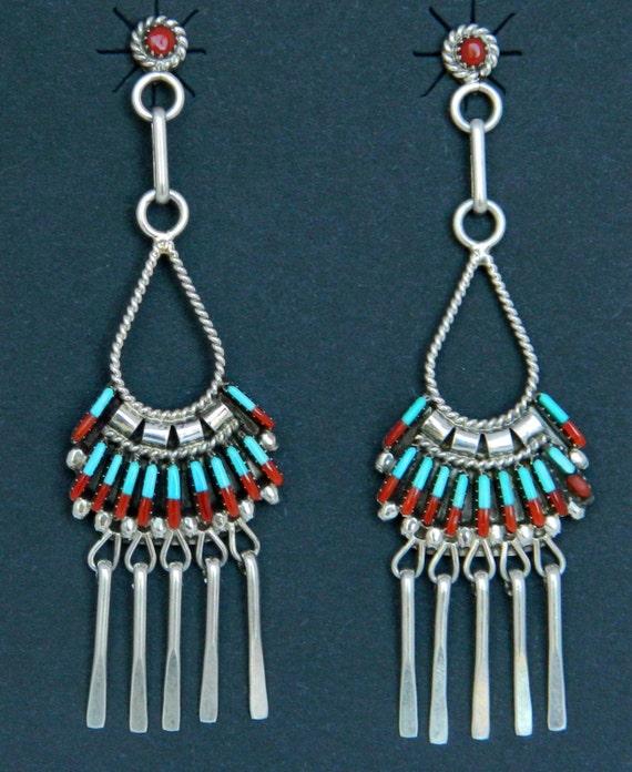 Zuni Earrings: Native American Zuni Turquoise Coral Sterling Dangle Earrings