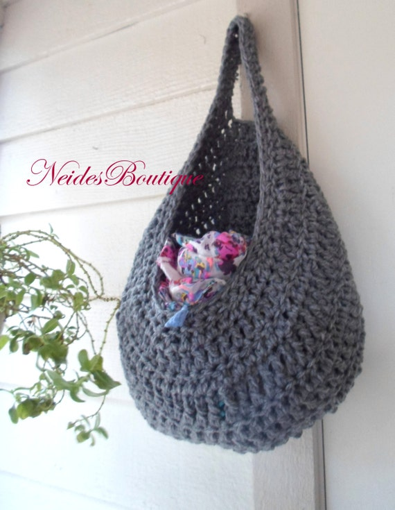 Crochet Laundry Bag : Large Gray crochet bag, Laundry bag, Vegetable Bag, Kitchen storage ...
