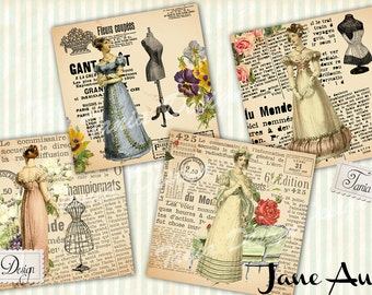 Jane Austen Coaster-Digital Collage Sheet Download-Digital Paper - Instant Download Printable