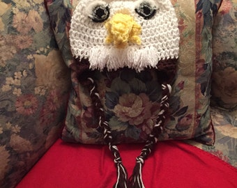 Bald Eagle Crochet Hat with Earflaps and Braids