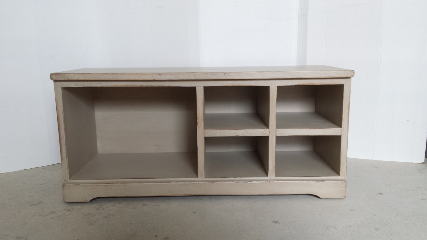 42 Long Shoe Bench Wood Cubby Shoe Bench